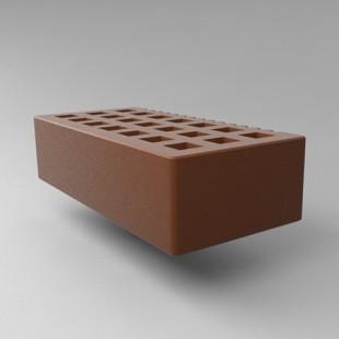 Кирпич пустотелый с фаской 1 нф - какао, гладкий